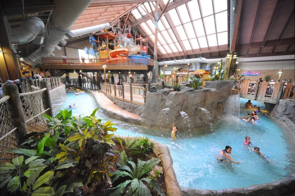Overhead view of waterpark